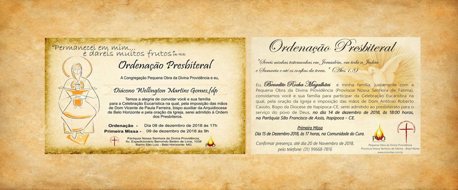 CONVITE – ORDENAÇÃO PRESBITERAL – DC WELLINGTON MARTINS GOMES e DC BENEDITO ROCHA MAGALHÃES
