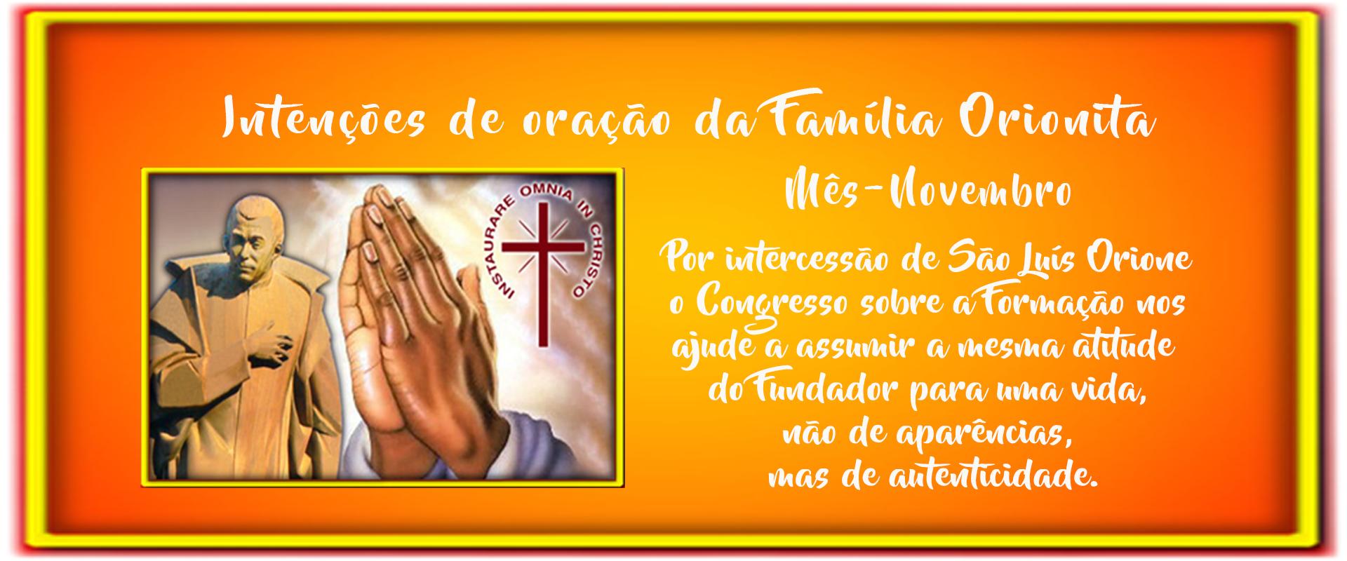 Intenção de oração da Familia Orionita
