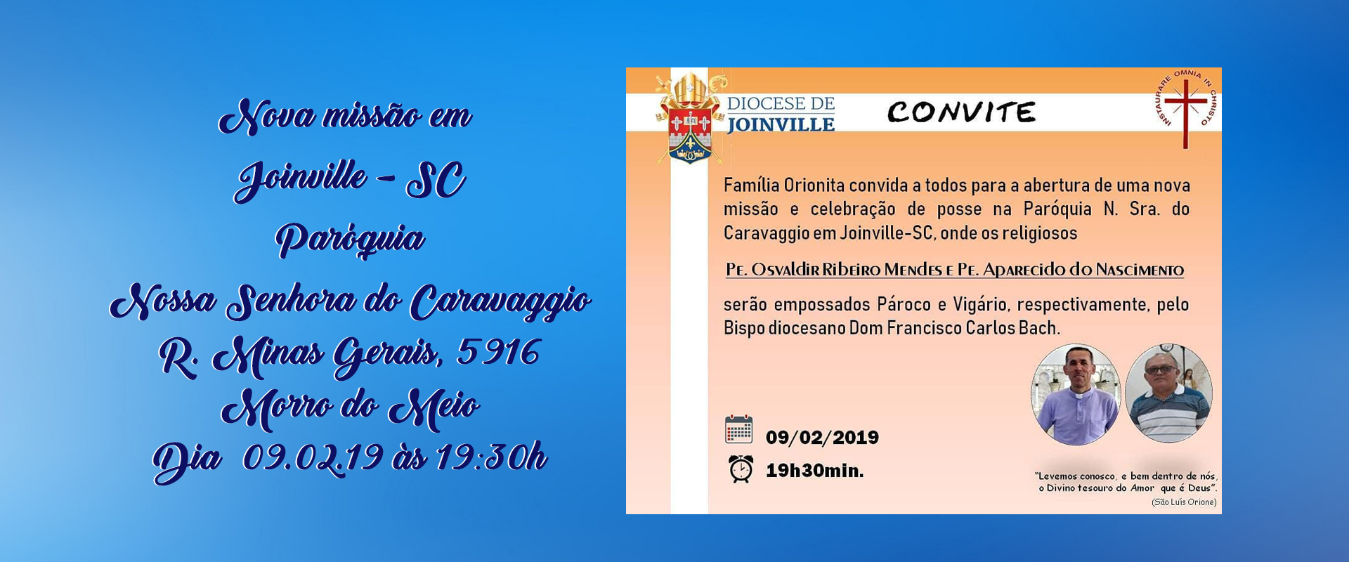 Convite – Nova missão em Joinville – SC