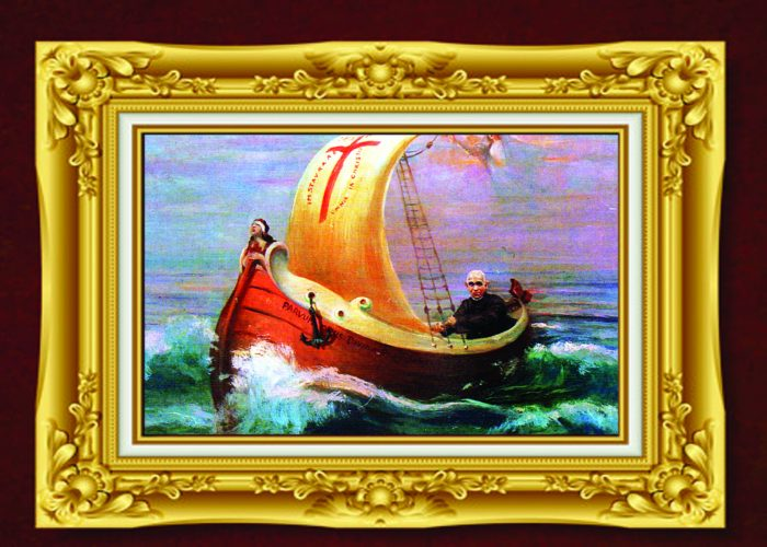SLO Barco com moldura-de-ouro e placa